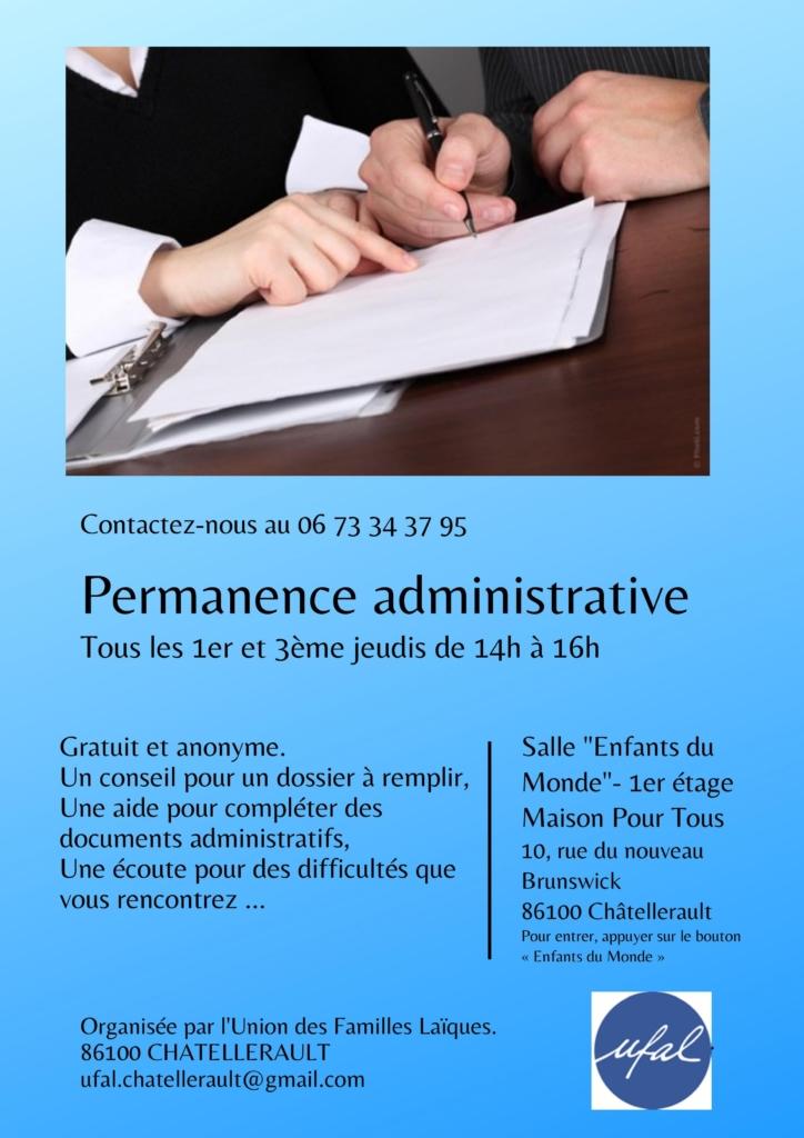 Châtellerault (86) - Soutien administratif / 2 permanences par mois @ Salle « Enfants du Monde » - 1er étage - Maison Pour Tous