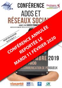 """Conférence """"Ados et réseaux sociaux"""" à Périgueux le 11 février @ UDAF 24"""
