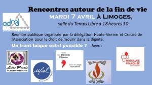 (Reporté) ADMD Limoges « Rencontres autour de la fin de vie » @ Limoges - salle du Temps Libre