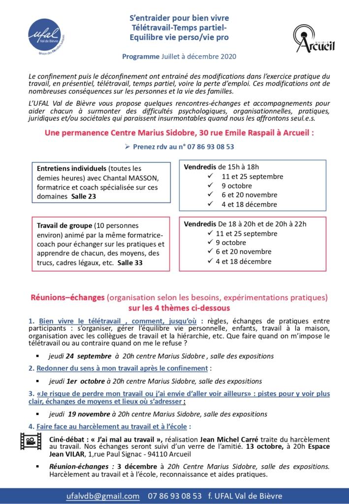 Arcueil (94) - Permanence (individuelle) : s'entraider pour bien vivre - télétravail - temps partiel- équilibre vie perso/vie pro @ Centre Marius Sidobre