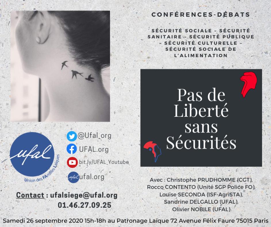 """Paris - """"Pas de Liberté sans Sécurités"""" conférence-débat @ Patronage Laïque"""