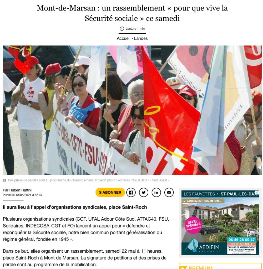 L'Ufal Adour Côte Sud appelle à un rassemblement pour la Sécu à Mont-de-Marsan le 22 mai