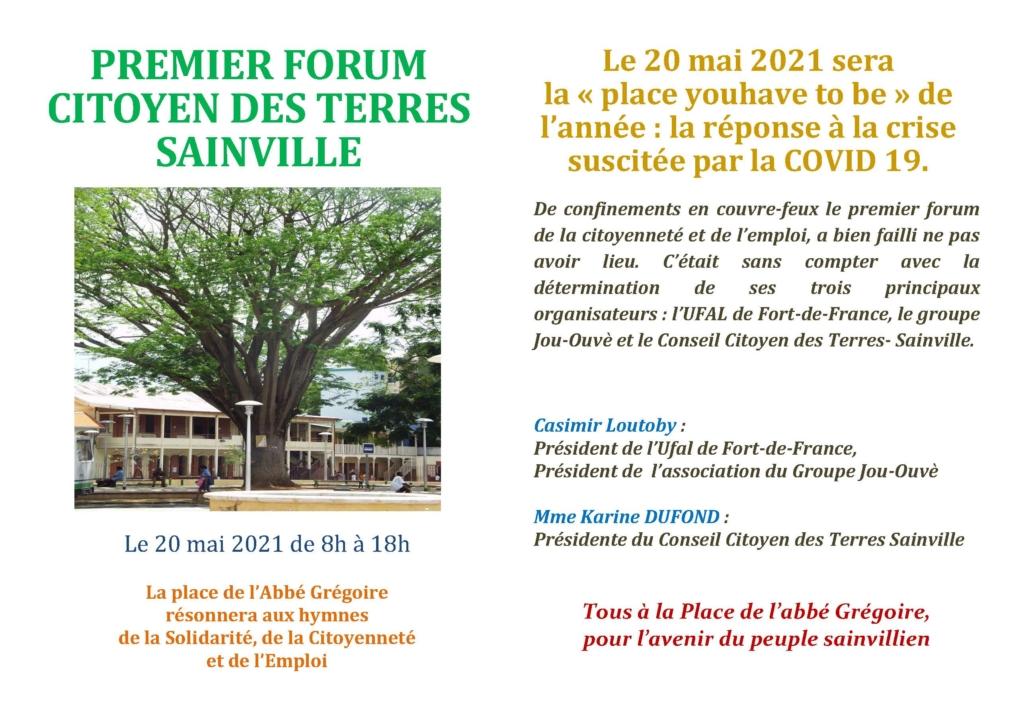 Ufal Fort-de-France : Forum Citoyen le 20 mai @ Quartier des Terres Sainville, place de l'abbé Grégoire