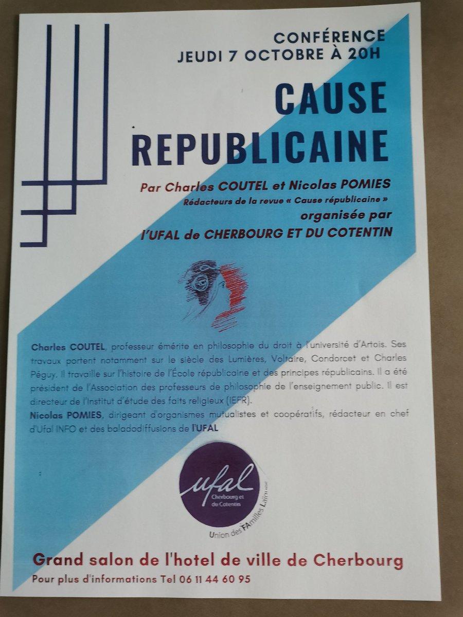 """Conférence """"Cause républicaine"""" à Cherbourg (50) le 7 octobre @ Cherbourg-en cotentin"""