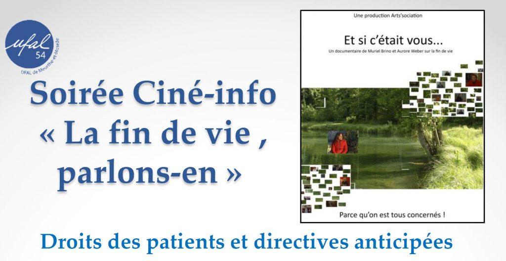 """Ciné-info de l'Ufal 54  : """"La fin de vie, parlons-en"""" @ Salle JB clément Rue du Rampeux, 54360 Blainville-sur-l'Eau"""